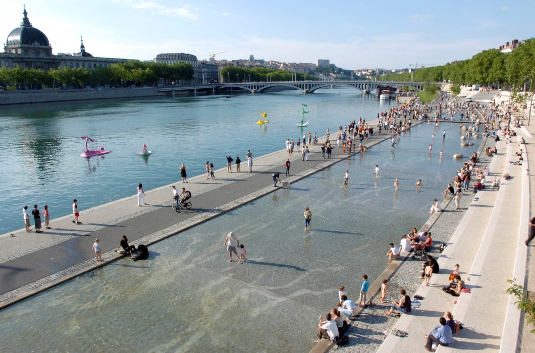 Riverbanks during summer in Lyon